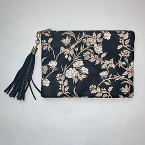 Merona black pink & white floral clutch